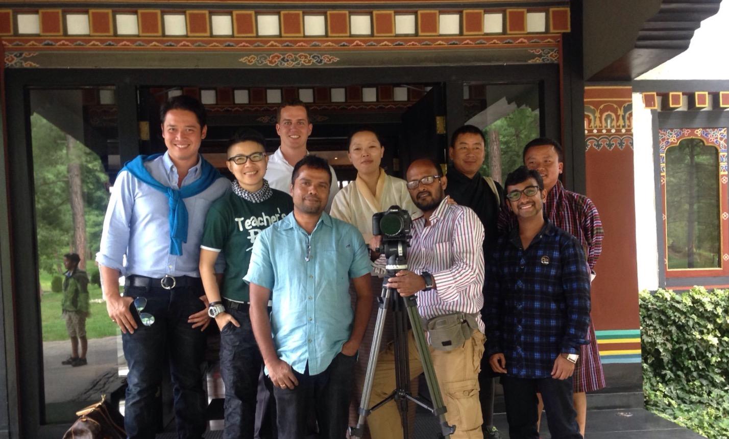 The entire crew of City Time Travellers 2 on the set at Uma Paro, Paro, Bhutan